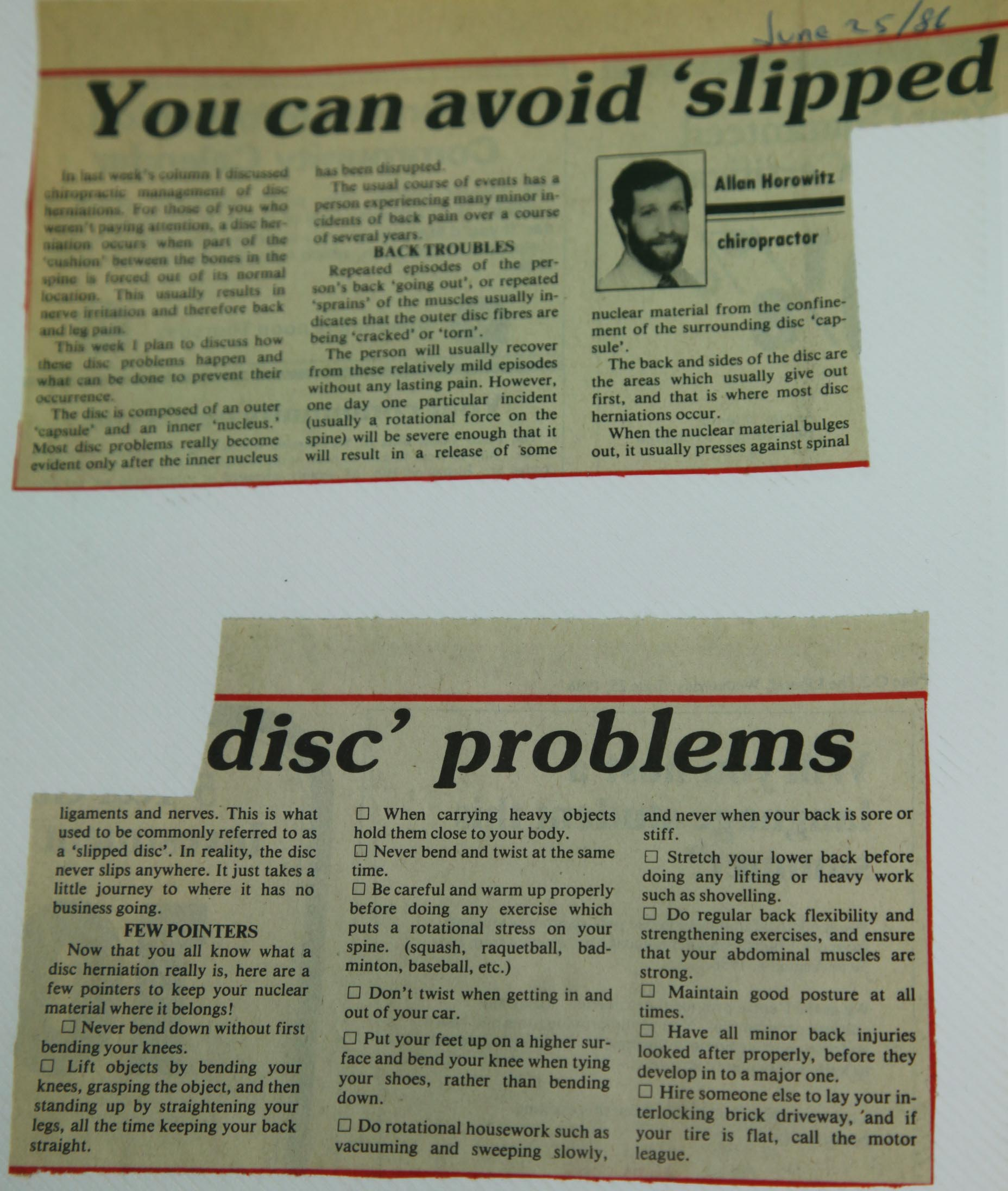 You Can Avoid Slipped Disc Problems Dr Allan Horowitz