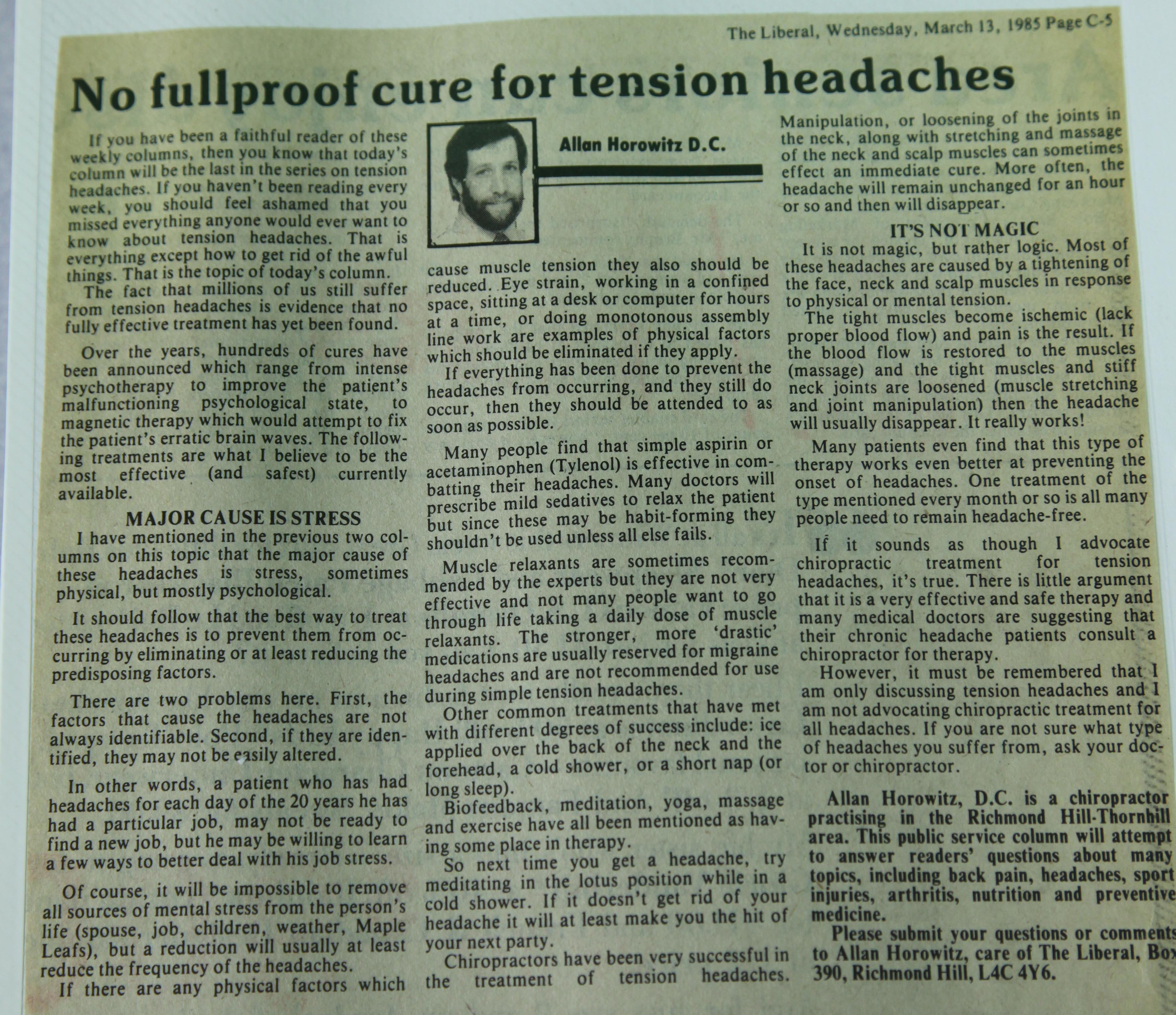 No foolproof cure for tension headaches - Dr  Allan Horowitz
