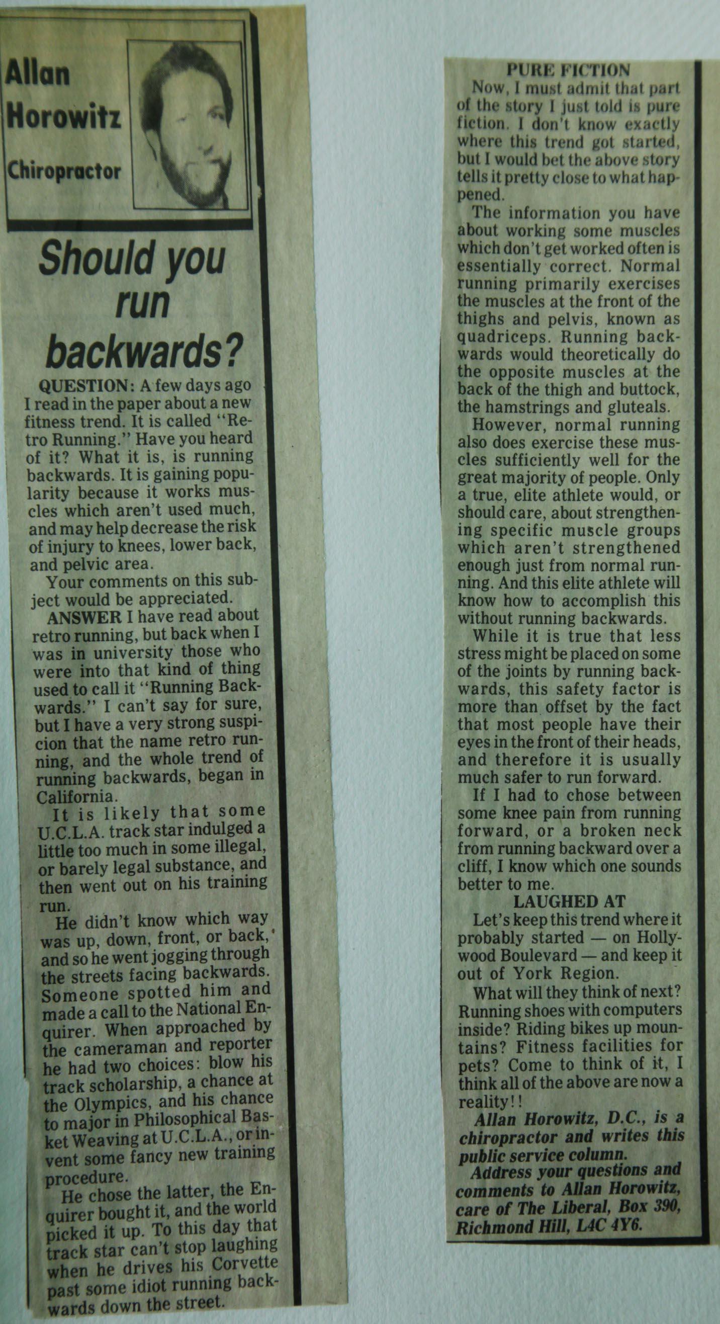 should you run backwards dr allan horowitz. Black Bedroom Furniture Sets. Home Design Ideas